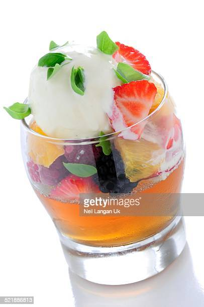 fruit jelly with ice cream in glass