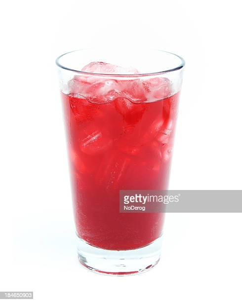 Fruit juice in glass with ice
