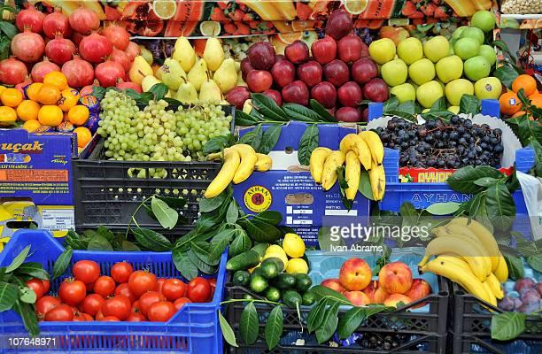 Fruit Market in Taksim Square Istanbul Turkey