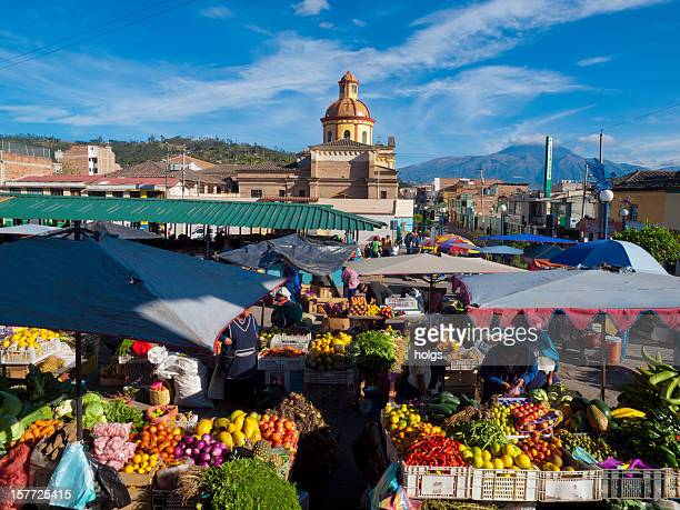 fruit market, otavalo, ecuador - ecuador stock pictures, royalty-free photos & images