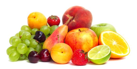 Fruit pile isolated on white 481194973