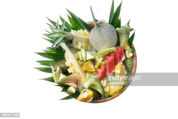 fruit platter on white background