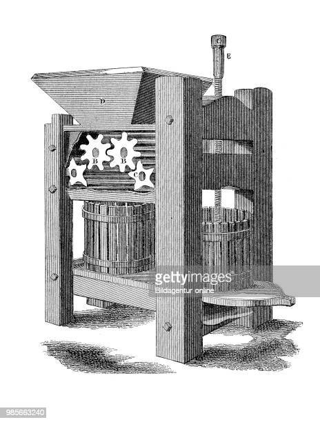 A fruit press industrial product from the year 1880 digital improved reproduction of a woodcut from the year 1880