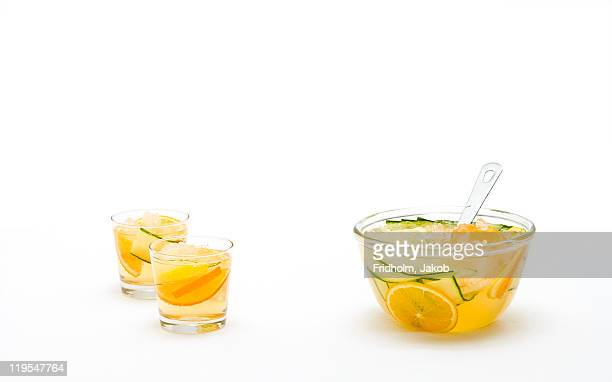 Fruit punch in bowl and in glasses