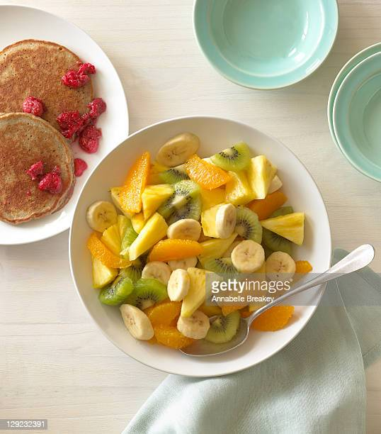 Fruit Salad with whole wheat pancakes, raspberries
