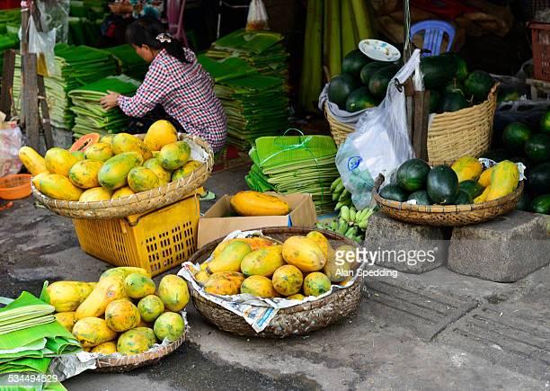 Fruit seller on a Phnom Penh market, Cambodia