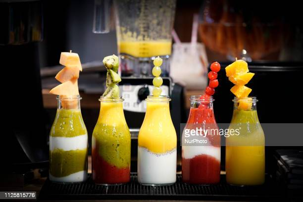 Fruit smoothies are seen in display at the Expo Sweet in Warsaw, Poland on February 17, 2019. The Expo Sweet is the largest confectionery and...