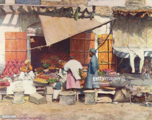 'A Fruit Stall' 1905 From India by Mortimer Menpes Text by Flora A Steel [Adam Charles Black London 1905] Artist Mortimer Luddington Menpes