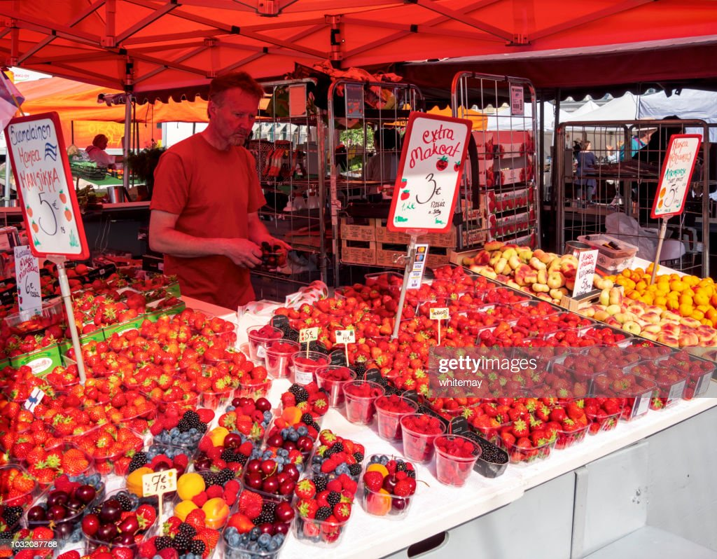 Fruit stall in the harbour market in Helsinki : Stock Photo