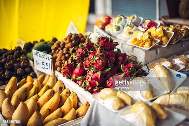 Fruit stall with exotic Thai fruits