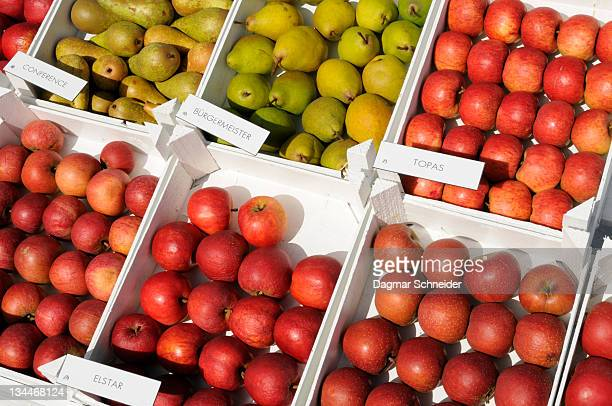 Fruit stand, Altes Land region, Lower Saxony, Germany, Europe