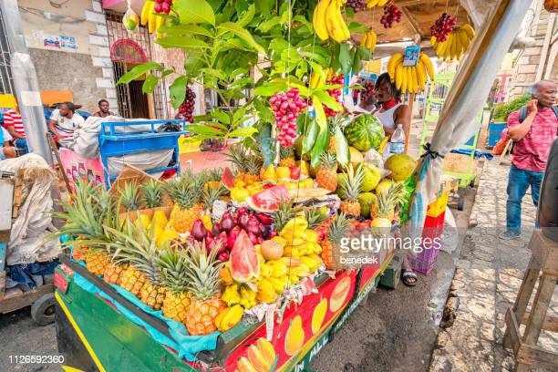 fruit stand in downtown montego bay jamaica - montego bay stock pictures, royalty-free photos & images