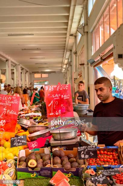 fruit stand in forville market in cannes, provence-alpes-cote d'azur, france - mt lemmon stock photos and pictures