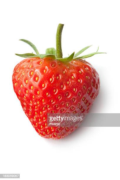 fruit: strawberry isolated on white background - strawberry stock pictures, royalty-free photos & images