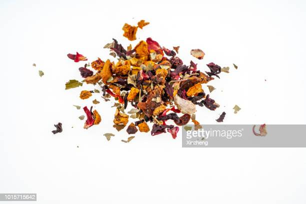 fruit tea - tea leaves stock photos and pictures