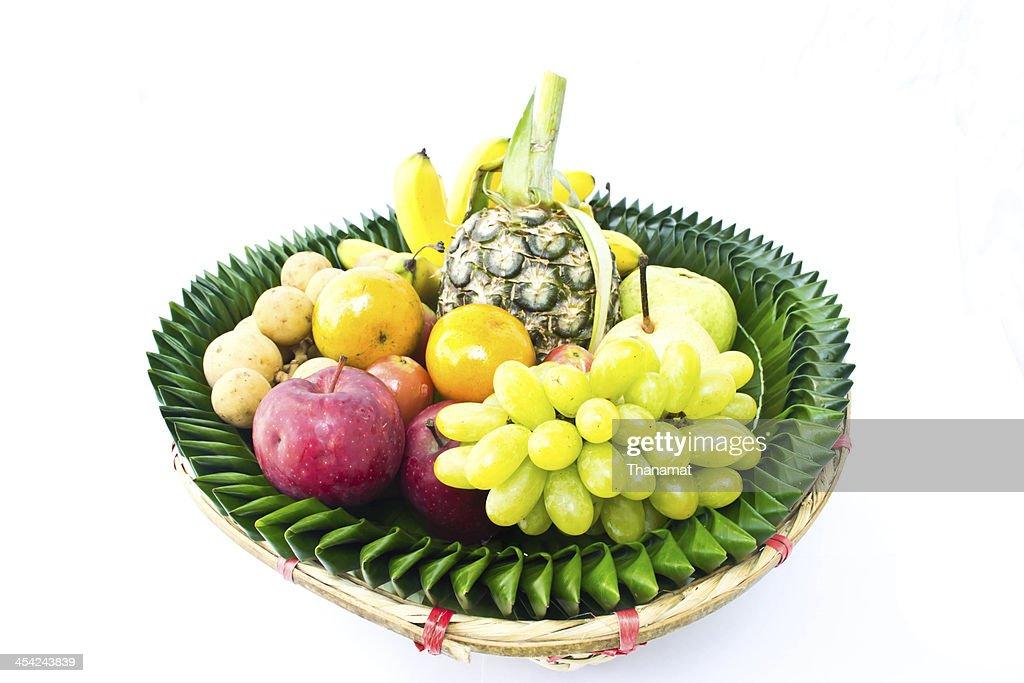 Fruit tray on a white background : Stock Photo