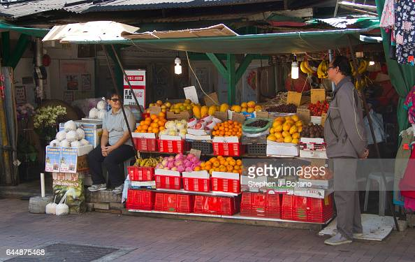 fruit vendor at stanley market in hong kong stanley is a