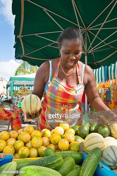fruit vendor in ste-anne, martinique, french caribbean - martinique stock photos and pictures