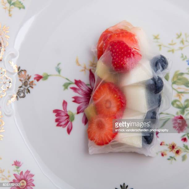 Fruit wrap up with rice paper.