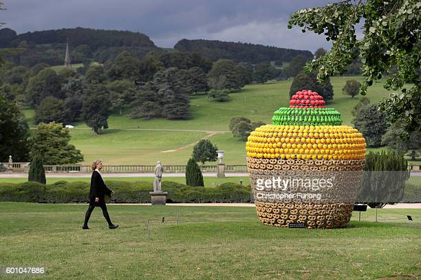 Fruitcake by artist Joana Vasconcelos one of the many moumental sculptures on dispay at Chatsworth stately home as part of the Sotheby's Beyond...