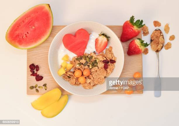 Fruits and breakfast cereal for breakfast