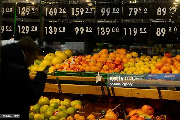 Fruits and their prices are seen after depreciation in Russian Rouble in Moscow Russia on January 24 2016