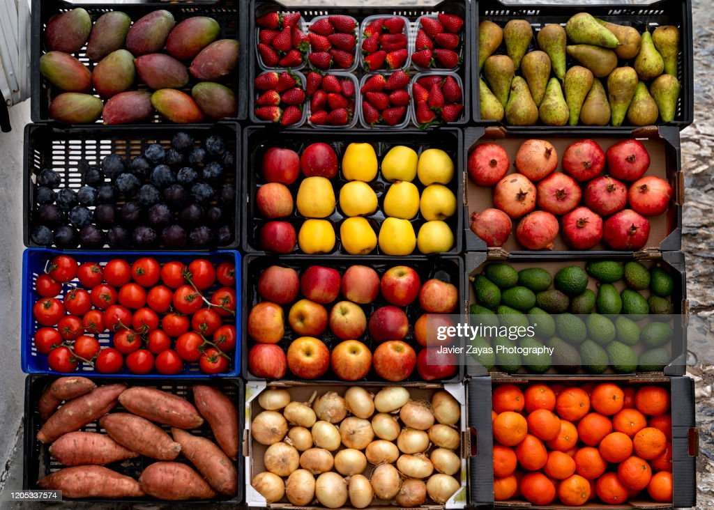 Fruits And Vegetables For Sale At Market Stall : Stock Photo