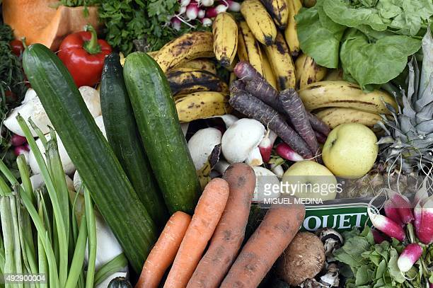 Fruits and vegetables judged ugly by mass market retailers are pictured during Antigaspi pour le climat aussi an operation organized by the Paris...