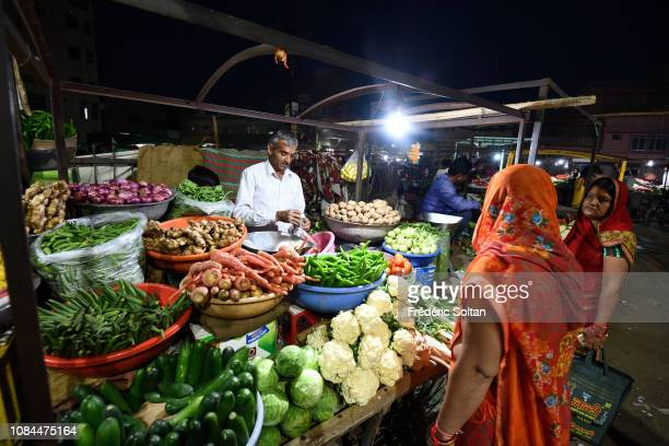 Fruits and vegetables market in a village near Bikaner on November 24 2018 in India