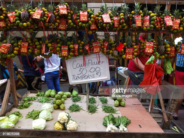 CHINATOWN MANILA PHILIPPINES Fruits and vegetables seen during the festival Filipinos celebrated the Chinese New year by visiting chinatown in...