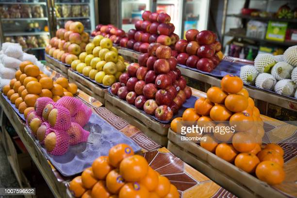 Fruits are displayed for sale at Orussey Market in Phnom Penh Cambodia on Friday July 27 2018 Cambodian Prime MinisterHun Senextended his...