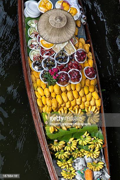 Fruits in a boat on a floating market near Bangkok