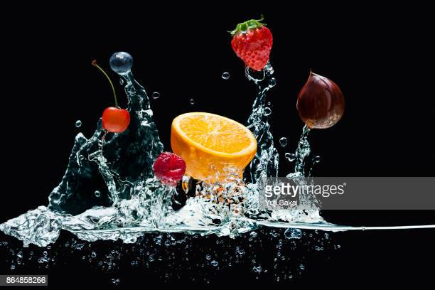 Fruits Jump out from water .