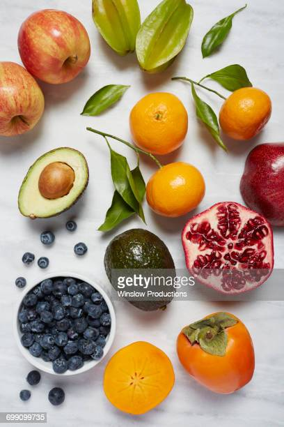 Fruits on white surface