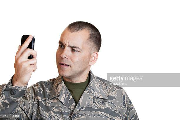Frustrated Airman on Cell Phone