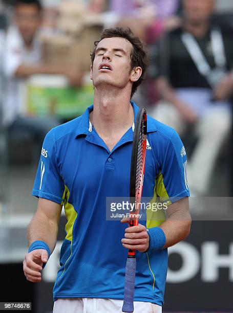 A frustrated Andy Murray of Great Britain in his match against David Ferrer of Spain during day five of the ATP Masters Series Rome at the Foro...