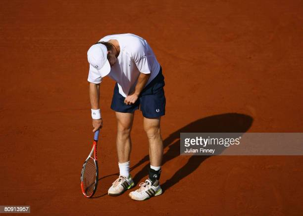A frustrated Andy Murray of Great Britain in his match against Mario Ancic of Croatia during the Open Sabadell Atlantico Barcelona 2008 Tennis at the...
