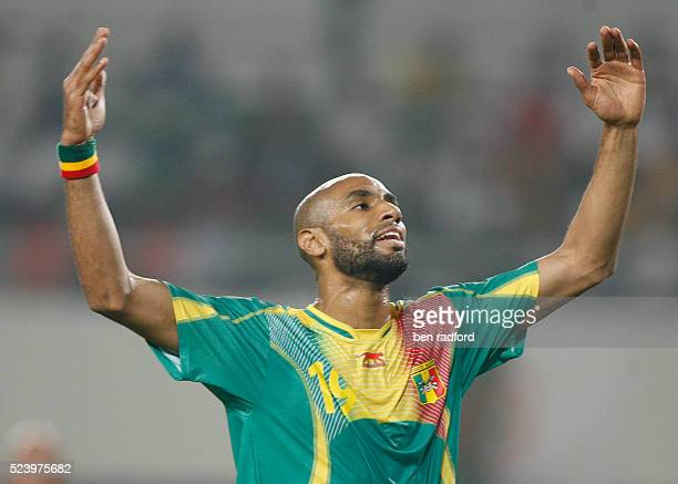 A frustrated Freddie Kanoute after nissing a scoring chance for Mali during the Group B African Cup of Nations 2008 match between Mali and Benin at...