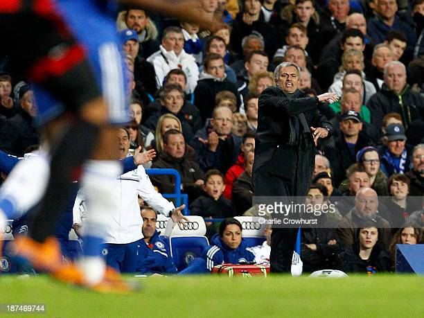 A frustrated Jose Mourinho vents his anger during the Barclays Premier League match between Chelsea and West Bromwich Albion at Stamford Bridge on...