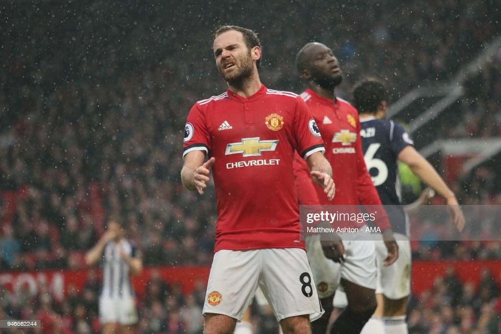 A frustrated Juan Mata of Manchester United during the Premier League match between Manchester United and West Bromwich Albion at Old Trafford on April 15, 2018 in Manchester, England.