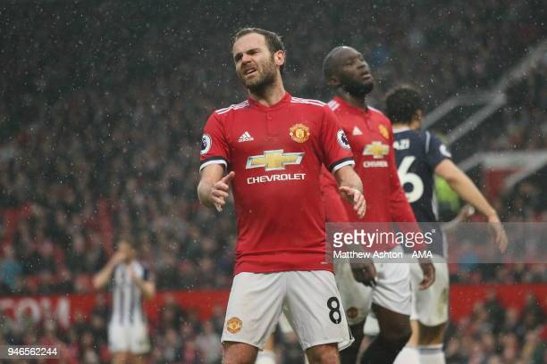 A frustrated Juan Mata of Manchester United during the Premier League match between Manchester United and West Bromwich Albion at Old Trafford on...