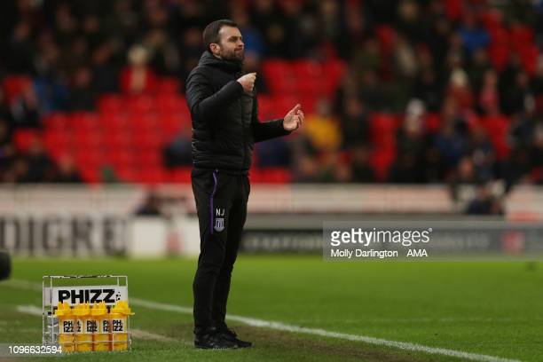 A frustrated Nathan Jones the head coach / manager of Stoke City during the Sky Bet Championship fixture between StokeCity and West Bromwich Albion...