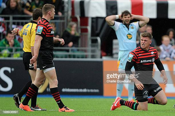 A frustrated Owen Farrell of Saracens looks to referee JP Doyle during the Aviva Premiership Semi Final match between Saracens and Northampton Saints...