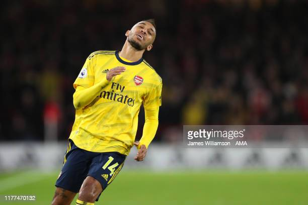Frustrated Pierre-Emerick Aubameyang of Arsenal during the Premier League match between Sheffield United and Arsenal FC at Bramall Lane on October...