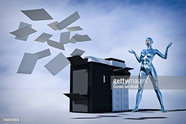 Frustrated robot woman watching paper flying from photocopier