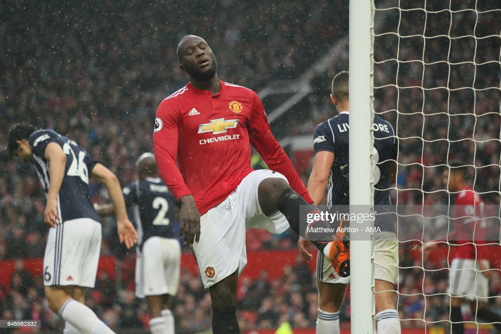 A frustrated Romelu Lukaku of Manchester United during the Premier League match between Manchester United and West Bromwich Albion at Old Trafford on April 15, 2018 in Manchester, England.