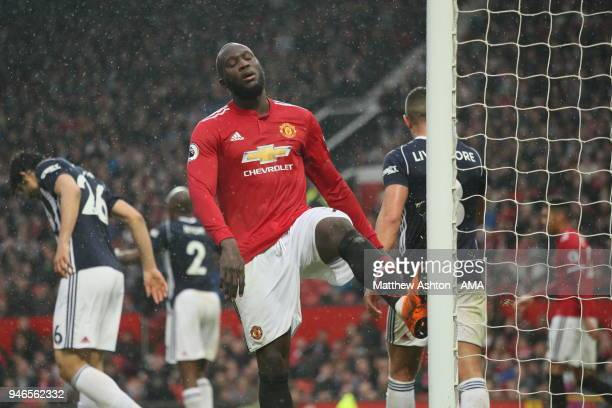 A frustrated Romelu Lukaku of Manchester United during the Premier League match between Manchester United and West Bromwich Albion at Old Trafford on...