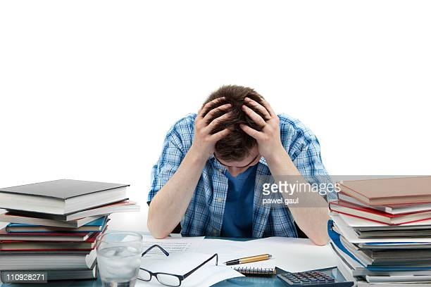 frustrated student - pulling hair stock photos and pictures