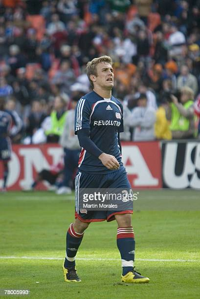 A frustrated Taylor Twellman of the New England Revolution exits the field after the 2007 Major League Soccer Cup at RFK Stadium on November 18 2007...