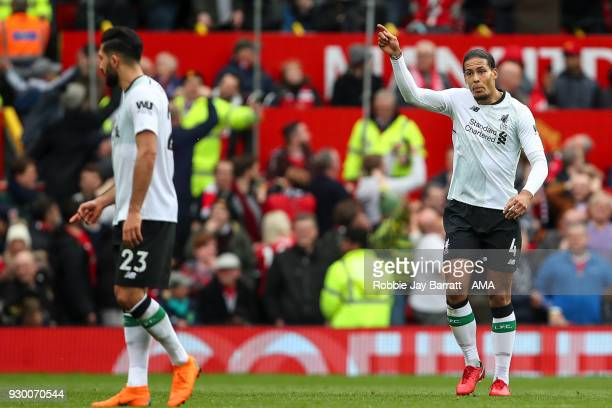 A frustrated Virgil van Dijk of Liverpool reacts after conceding during the Premier League match between Manchester United and Liverpool at Old...